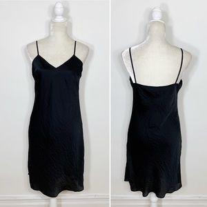 MICHAEL KORS black satin spaghetti strap dress